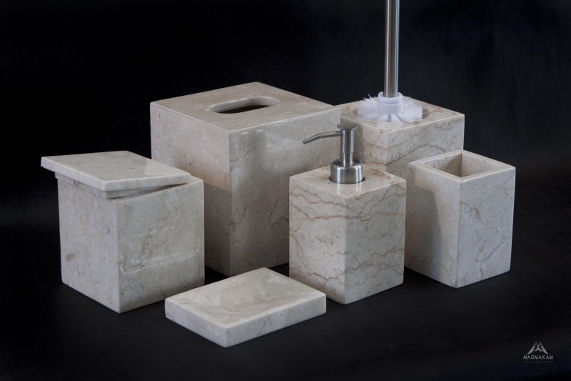Kamenná kúpeľňová sada RITA WHITE